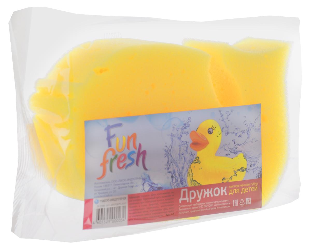 Губка для детской кожи Fun Fresh Дружок. Рыбка, цвет: желтый01.07._рыбка_желтыйДетская губка для тела Fun Fresh, выполненная из поролона, подходит для нежной и чувствительной кожи ребенка. Она поможет бережно и тщательно ухаживать за детской кожей, превращая процесс купания в увлекательную игру, ведь она выполнена в форме рыбки.