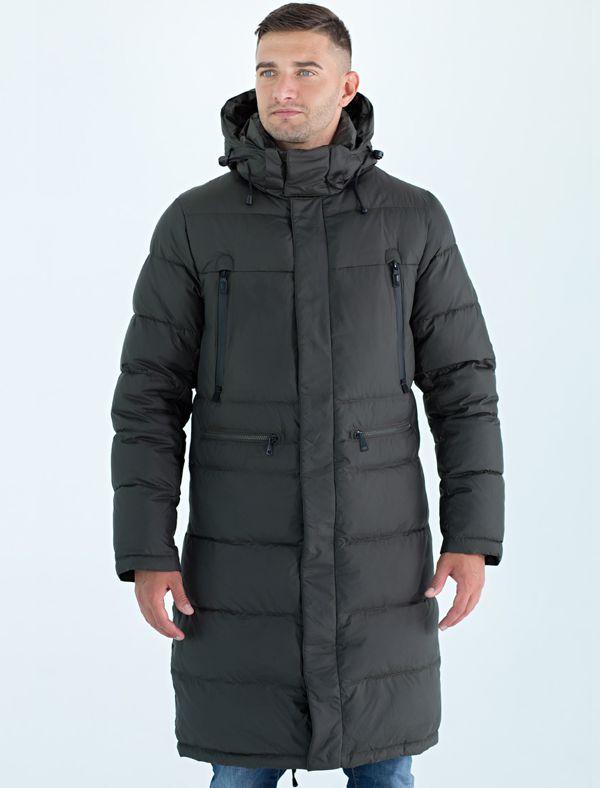 Пальто мужское Defreeze, цвет: оливковый. 71-297_khaki. Размер 4871-297_khakiСтильное пальто DEFREEZE выполнено из нейлона с утеплителем на пуху. Модель имеет 2 вертикальных и 2 горизонтальных кармана на молнии, воротник-стойку, капюшон, утяжки по низу. Застегивается на молнию, которая дополнена ветрозащитной планкой на кнопках. Подкладка пальто принтованная, воротник с внутренней стороны отделан мягкой комфортной тканью.
