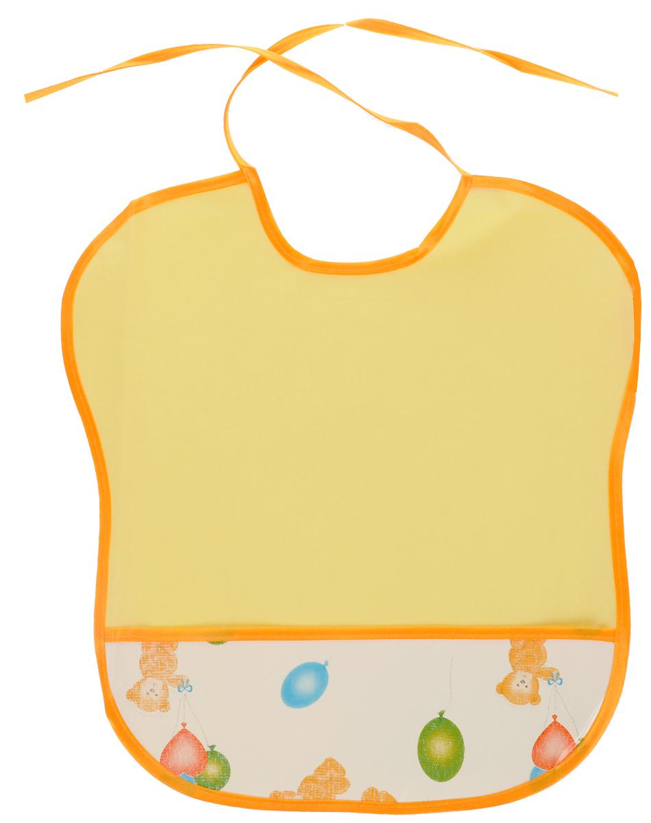 Колорит Нагрудник с карманом Мишки цвет желтый лимонный 33 см х 33 см