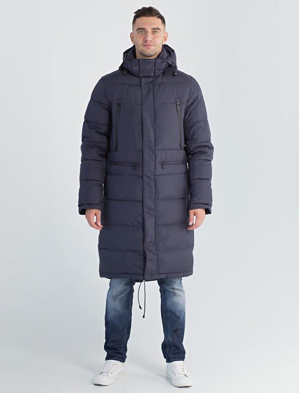 Пальто мужское Defreeze, цвет: синий. 71-297_navy. Размер 4671-297_navyСтильное пальто DEFREEZE выполнено из нейлона с утеплителем на пуху. Модель имеет 2 вертикальных и 2 горизонтальных кармана на молнии, воротник-стойку, капюшон, утяжки по низу. Застегивается на молнию, которая дополнена ветрозащитной планкой на кнопках. Подкладка пальто принтованная, воротник с внутренней стороны отделан мягкой комфортной тканью.
