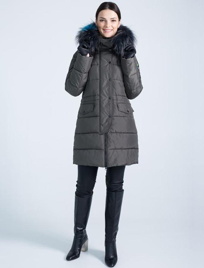 Парка женская Defreeze, цвет: темно-коричневый, черный. 62-230_khaki/black. Размер 5062-230_khaki/black