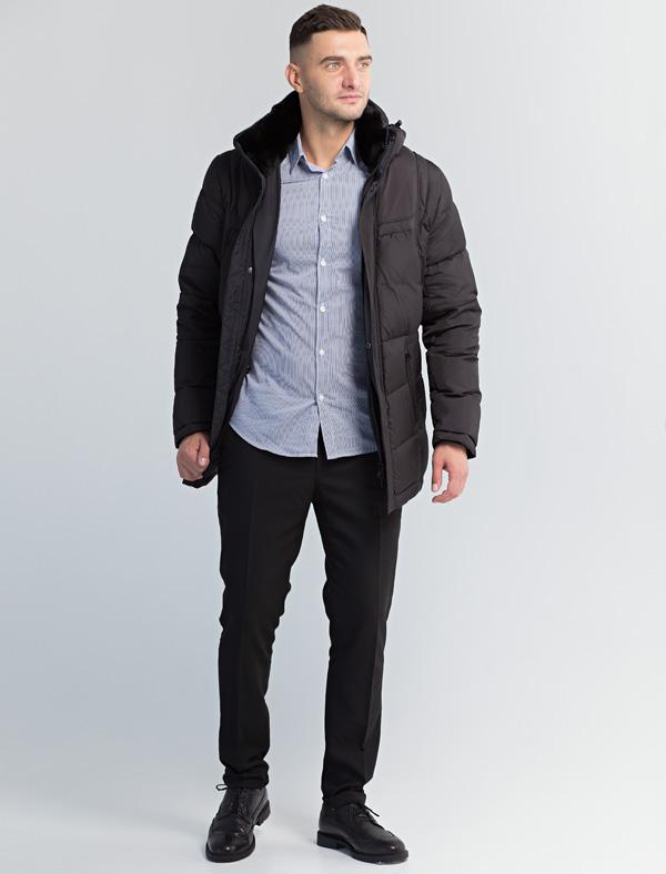 Куртка мужская Defreeze, цвет: черный. 71-199_black. Размер 5471-199_blackЗимняя мужская куртка DEFREEZE выполнена из нейлона с утеплителем на пуху. Воротник-стойка отделан мехом шиншиллового кролика в тон материала верха (мех отстегивается). Модель застегивается на молнию, которая дополнена ветрозащитной планкой на кнопках. Куртка имеет 2 прорезных кармана на молнии, капюшон, внутреннюю кулиску для регулировки объема. Подкладка в области спины дышащая.