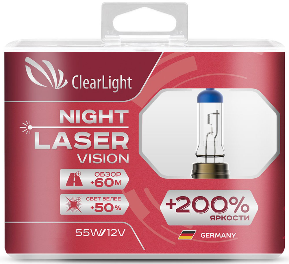Лампа автомобильная галогенная Clearlight Night Laser Vision +200% Light, цоколь H1, 12V, 55W, 2 штMLH1NLV200Clearlight +200% Night Laser Vision, пожалуй, самые яркие лампы из разрешенных для дорог общего пользования. В производстве ламп использованы лазерные технологии. Лучший срок эксплуатации в своем классе. Увеличенный обзор до 60 м. Свет белее на 50%.