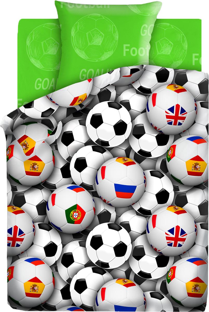 Комплект белья For You Футбольные мячи, 1,5-спальный, наволочки 70x70, цвет: зеленый261242