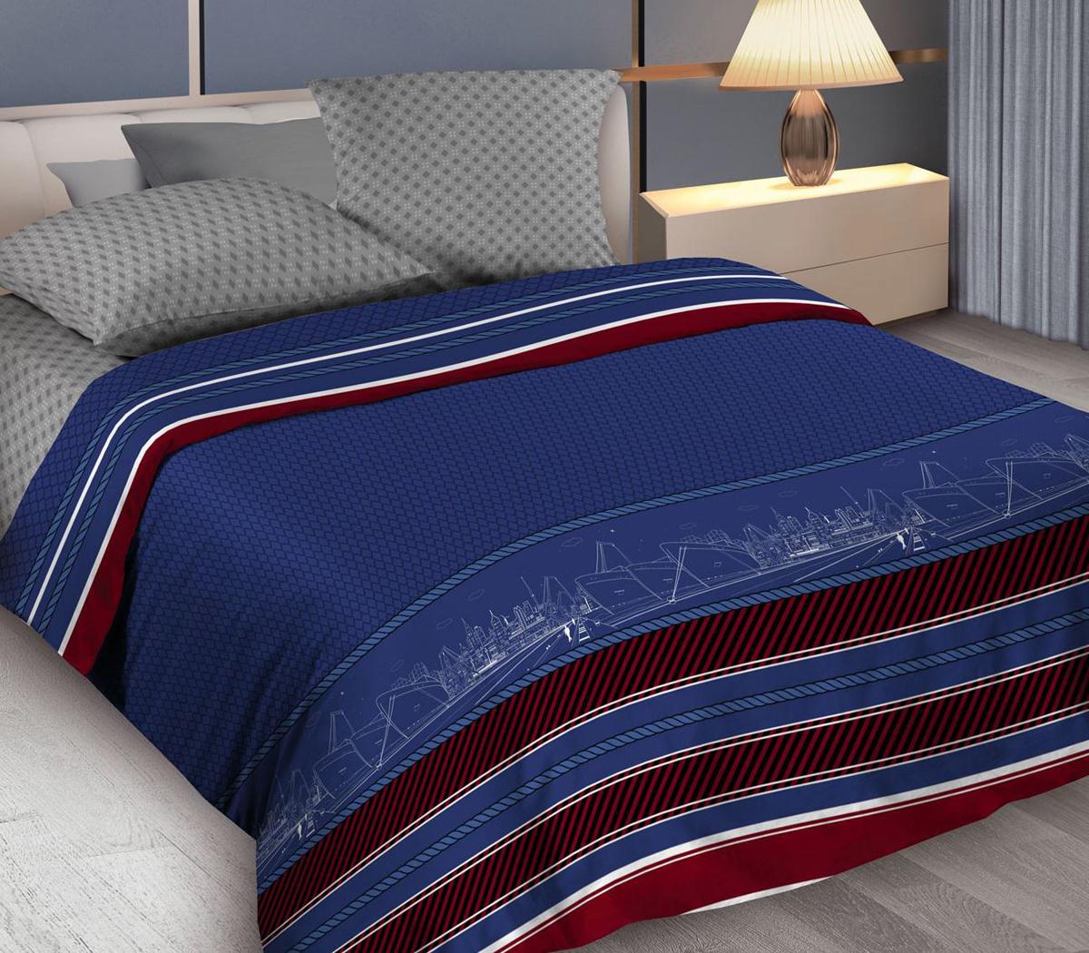 Комплект белья Wenge Belvedere, 2-спальный, наволочки 70x70, цвет: синий