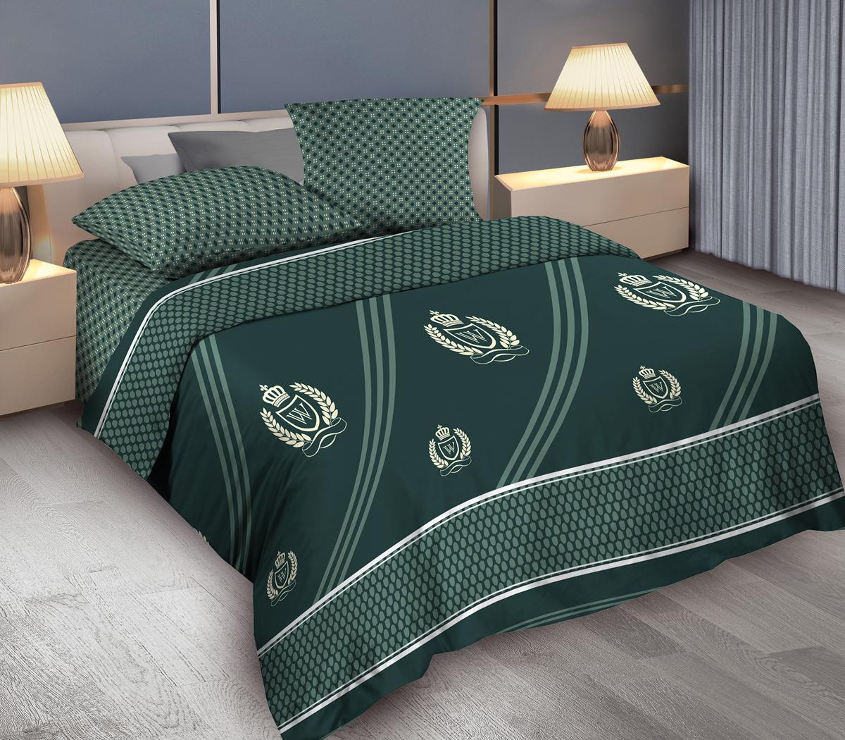Комплект белья Wenge Gallant, 2-спальный, наволочки 70x70, цвет: зеленый364978