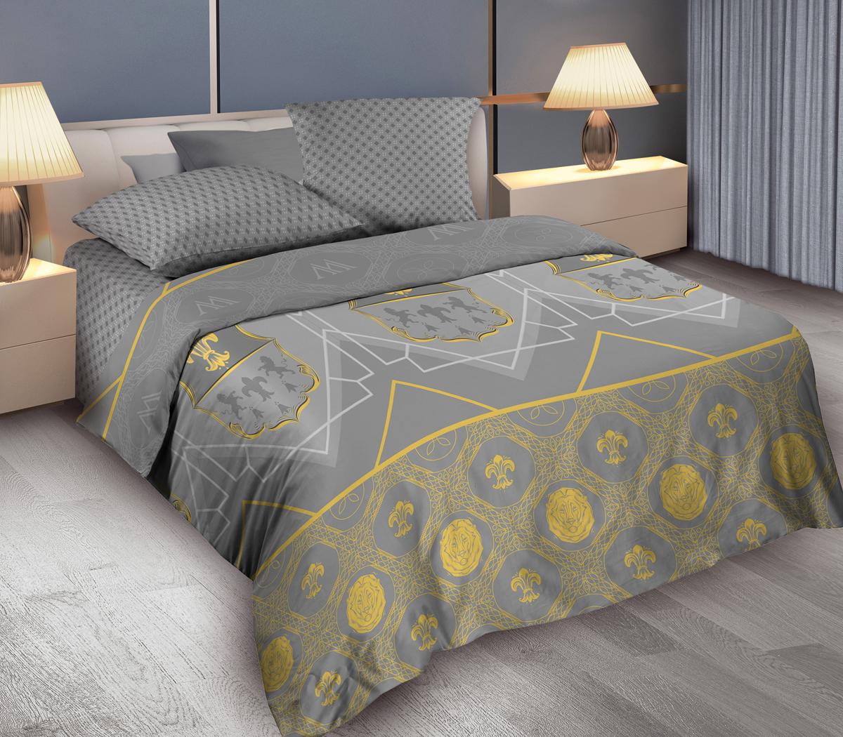 Комплект белья Wenge King Arthyr, 1,5-спальный, наволочки 70x70, цвет: серый364970