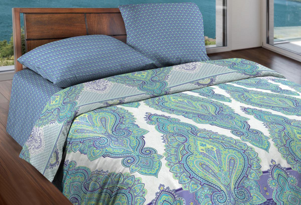 Комплект белья Wenge Sultan, 1,5-спальный, наволочки 70x70, цвет: голубой