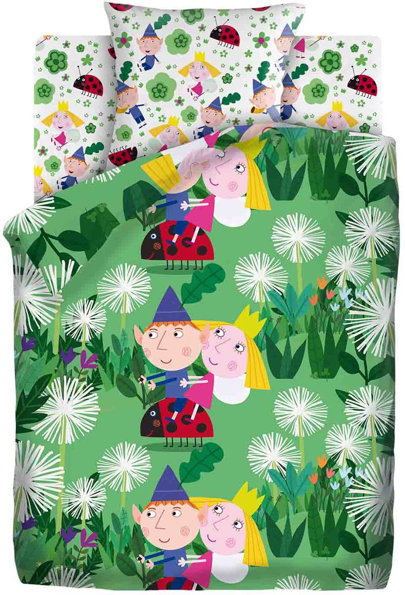 Комплект белья Бен и Холли Бен, Холли и Гастон, 1,5-спальный, наволочки 70x70, цвет: зеленый437683