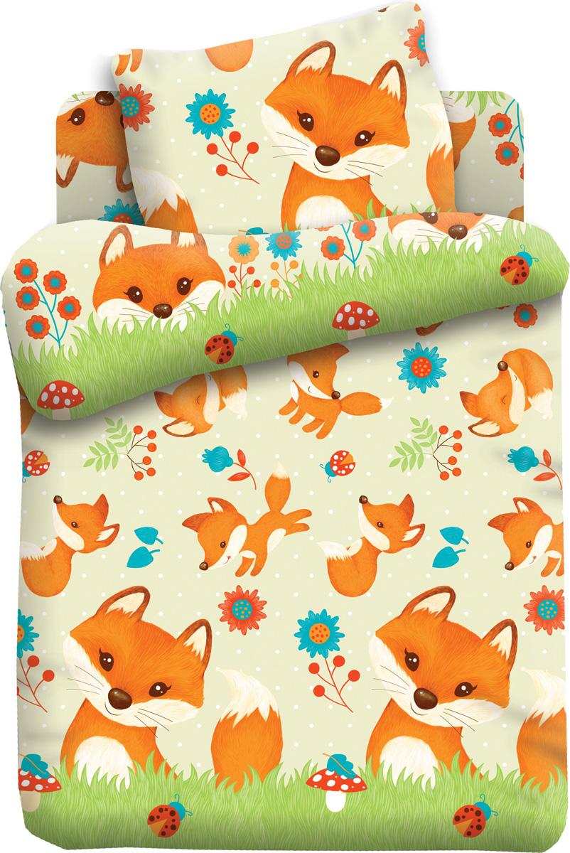 Комплект белья Кошки-мышки Лисята, 1,5-спальный, наволочки 70x70, цвет: светло-зеленый комплект белья любимый дом павлины 1 5 спальный наволочки 70x70 цвет зеленый