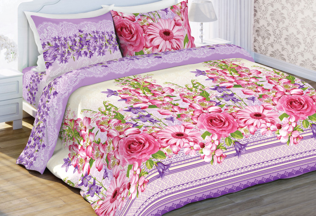 Комплект белья Любимый дом Альстромерия, евро, наволочки 70x70, цвет: розовый410928