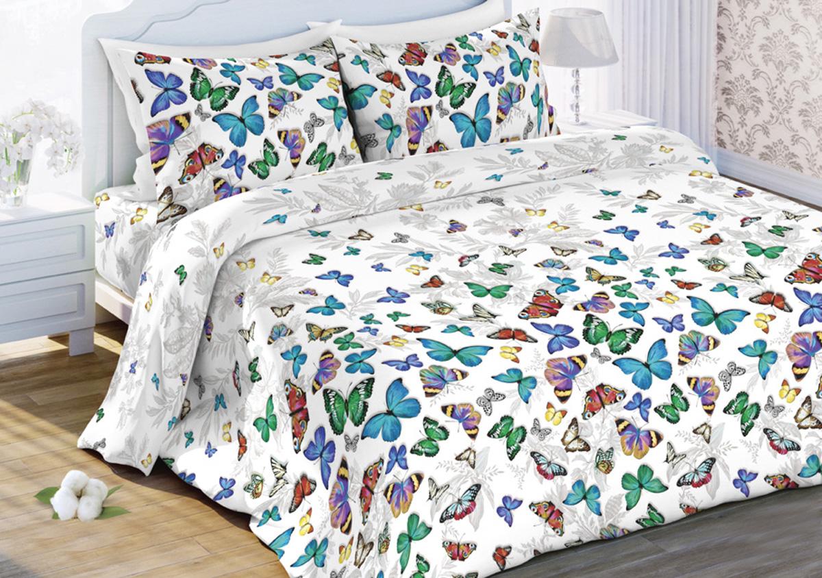 Комплект белья Любимый дом Бабочки , 2-спальный, наволочки 70x70, цвет: белый438183