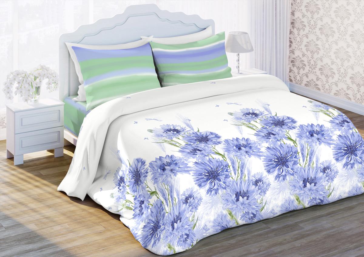 Комплект белья Любимый дом Васильки, 1,5-спальный, наволочки 70x70, цвет: белый