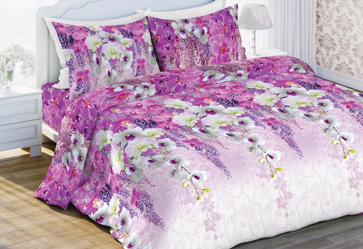 Комплект белья Любимый дом Вдохновение , евро, наволочки 70x70, цвет: розовый комплект белья любимый дом павлины 1 5 спальный наволочки 70x70 цвет зеленый