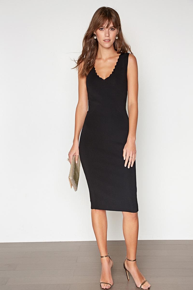 Платье Concept Club Cameron, цвет: черный. 10200200403. Размер XS (42)10200200403_100Платье Concept Club выполнено из вискозы и полиамида. Модель с V-образным вырезом горловины.