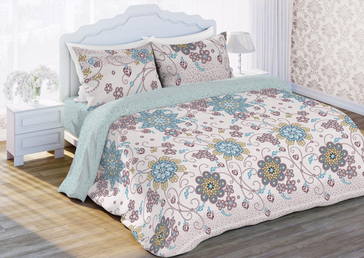 Комплект белья Любимый дом Гласси, 2-спальный, наволочки 70x70, цвет: бежевый400225