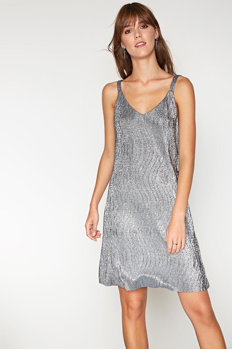 Платье Concept Club Mirra, цвет: серебристый. 10200200394. Размер M (46)10200200394_3700Платье Concept Club выполнено из полиэстера. Модель на бретельках с V-образным вырезом горловины.