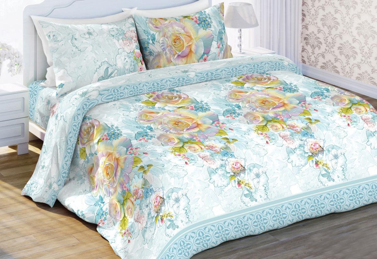 Комплект белья Любимый дом Жемчужная роза, 2-спальный, наволочки 70x70, цвет: голубой410899