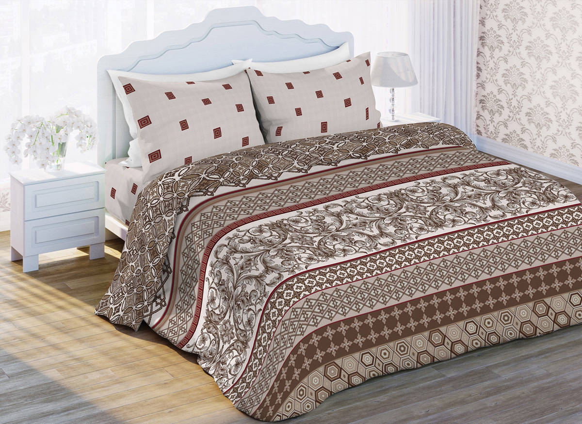 Комплект белья Любимый дом Классик, 1,5-спальный, наволочки 70x70, цвет: коричневый картридж hp c9388ae