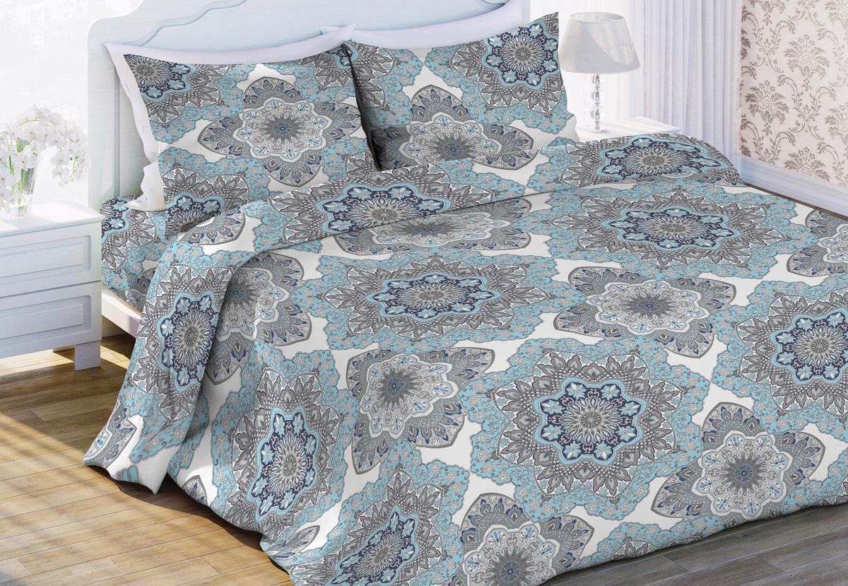 Комплект белья Любимый дом Кружева, 2-спальный, наволочки 70x70, цвет: голубой431883