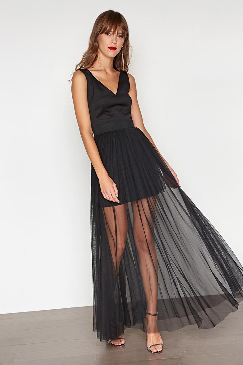 Платье Concept Club Posh, цвет: черный. 10200200399. Размер XS (42)10200200399_100Платье Concept Club выполнено из полиэстера. Модель с V-образным вырезом горловины сзади застегивается на застежку-молнию.