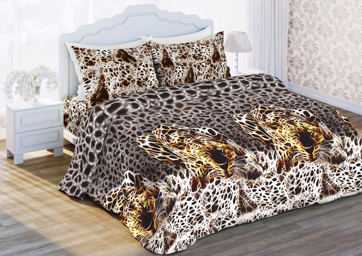 Комплект белья Любимый дом Лео, семейный, наволочки 70x70, цвет: коричневый
