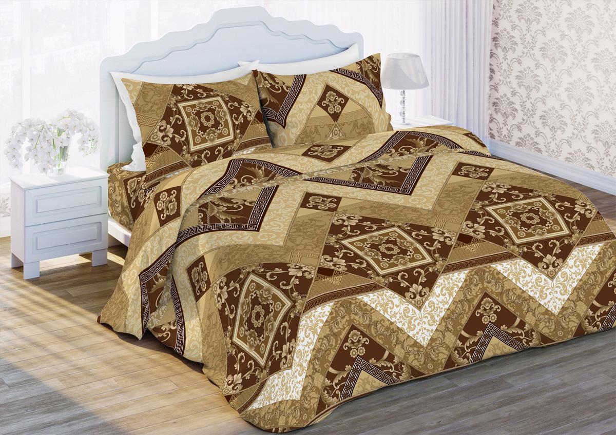 Комплект белья Любимый дом Орнамент, 2-спальный, наволочки 70x70, цвет: коричневый345556