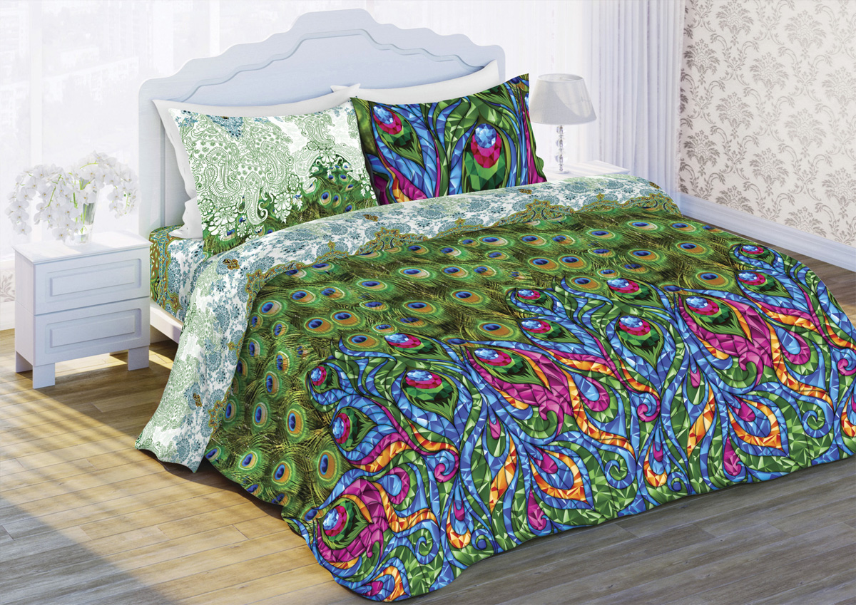 Комплект белья Любимый дом Павлины, 1,5-спальный, наволочки 70x70, цвет: зеленый комплект белья любимый дом павлины 1 5 спальный наволочки 70x70 цвет зеленый