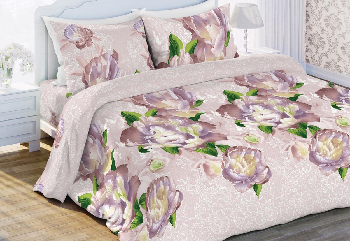 Комплект белья Любимый дом Поэзия, 2-спальный, наволочки 70x70, цвет: розовый423918