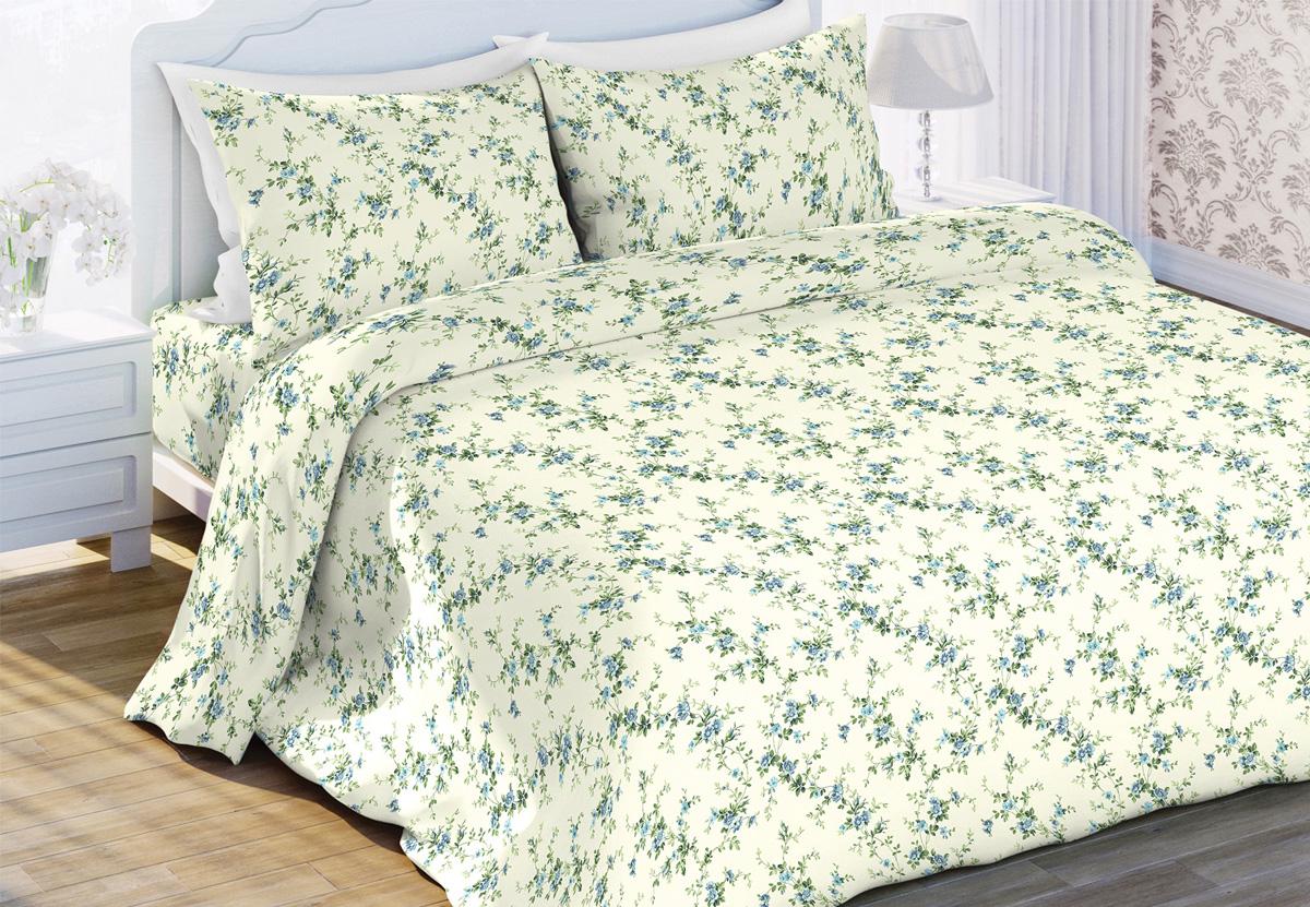 Комплект белья Любимый дом Пробуждение, евро, наволочки 70x70, цвет: светло-зеленый453549