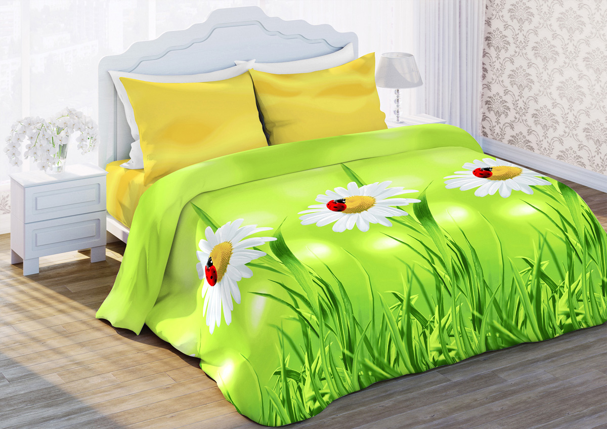 Комплект белья Любимый дом Ромашки луговые, 1,5-спальный, наволочки 70x70, цвет: зеленый352584Комплект постельного белья Любимый дом является экологически безопасным для всей семьи, так как выполнен из бязи (100% хлопка). Комплект состоит из пододеяльника, простыни и двух наволочек. Постельное белье оформлено оригинальным рисунком и имеет изысканный внешний вид. Бязь - это ткань полотняного переплетения, изготовленная из экологически чистого и натурального хлопка. Она прочная, мягкая, обладает низкой сминаемостью, легко стирается и хорошо гладится. Бязь прекрасно пропускает воздух и за ней легко ухаживать. Приобретая комплект постельного белья Любимый дом, вы можете быть уверены в том, что покупка доставит вам и вашим близким удовольствие и подарит максимальный комфорт.