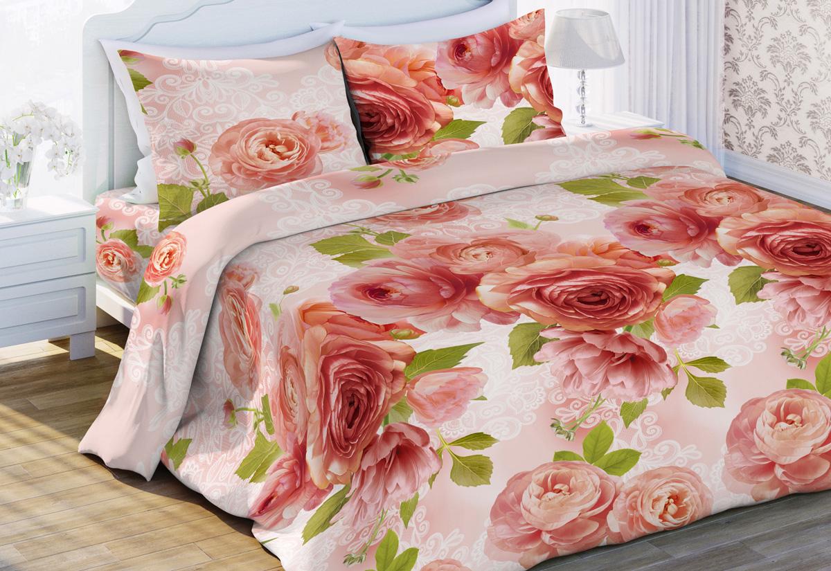 Комплект белья Любимый дом Садовый цвет, евро, наволочки 70x70, цвет: розовый431872
