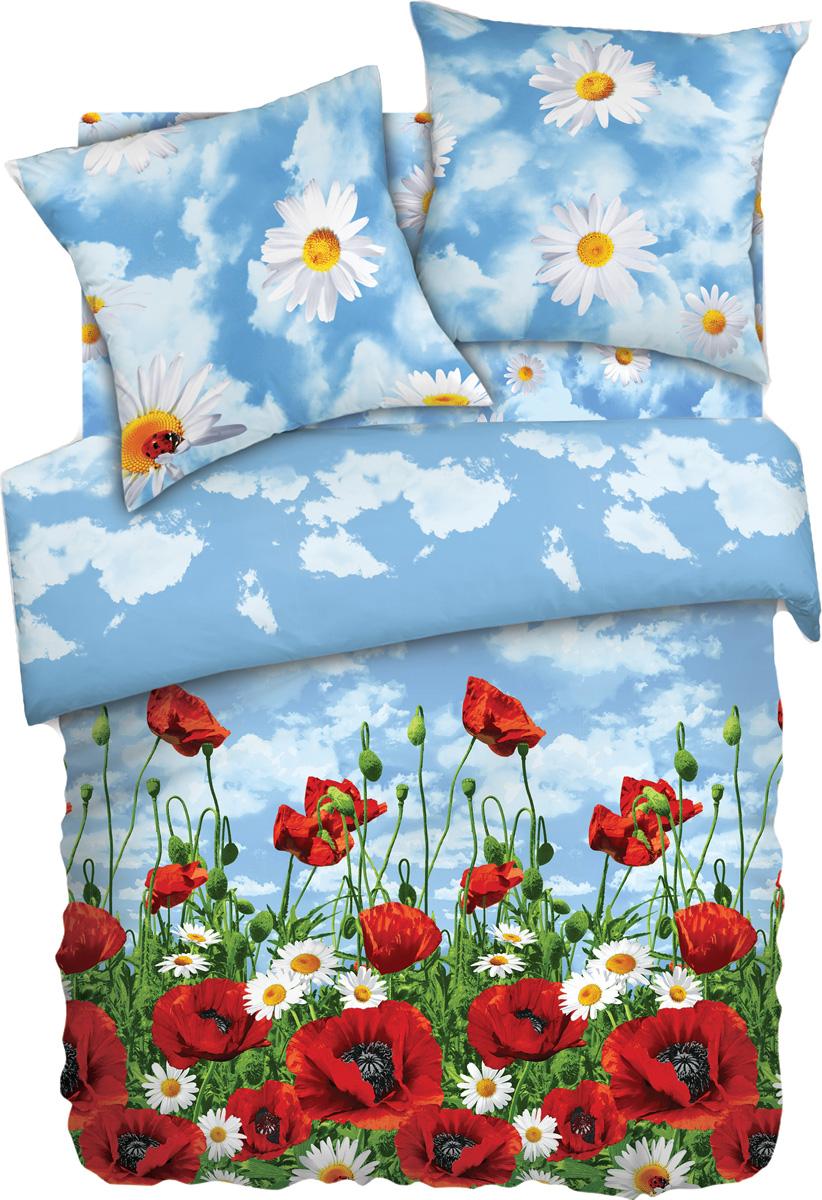Комплект белья Любимый дом Солнечный мак, 1,5-спальный, наволочки 70x70, цвет: голубой285752