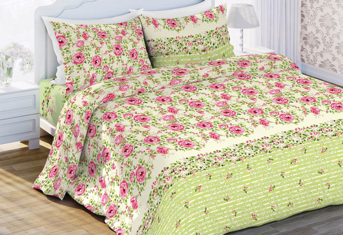 Комплект белья Любимый дом Шиповник, 2-спальный, наволочки 70x70, цвет: зеленый453536