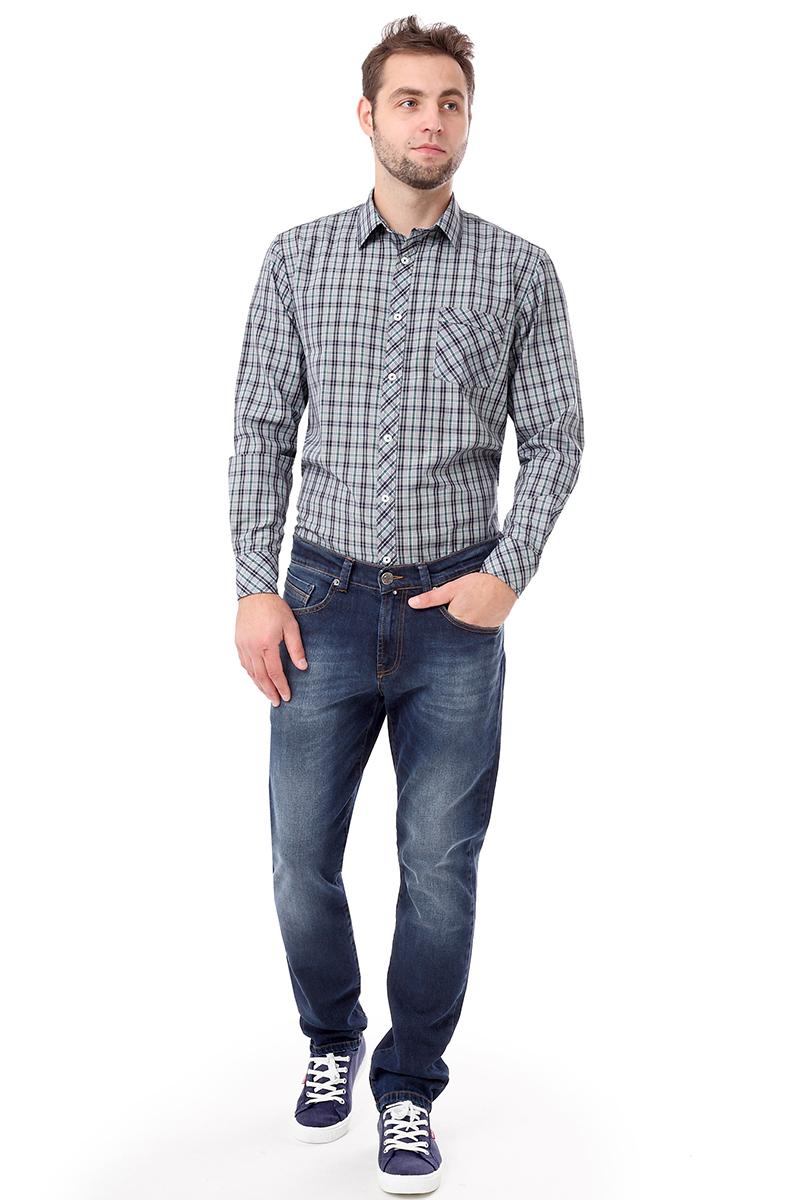 Рубашка мужская F5 Poplin, цвет: серый. 276001. Размер S (46) платье женское f5 цвет серый синий 271014 grey check 2 размер s 44