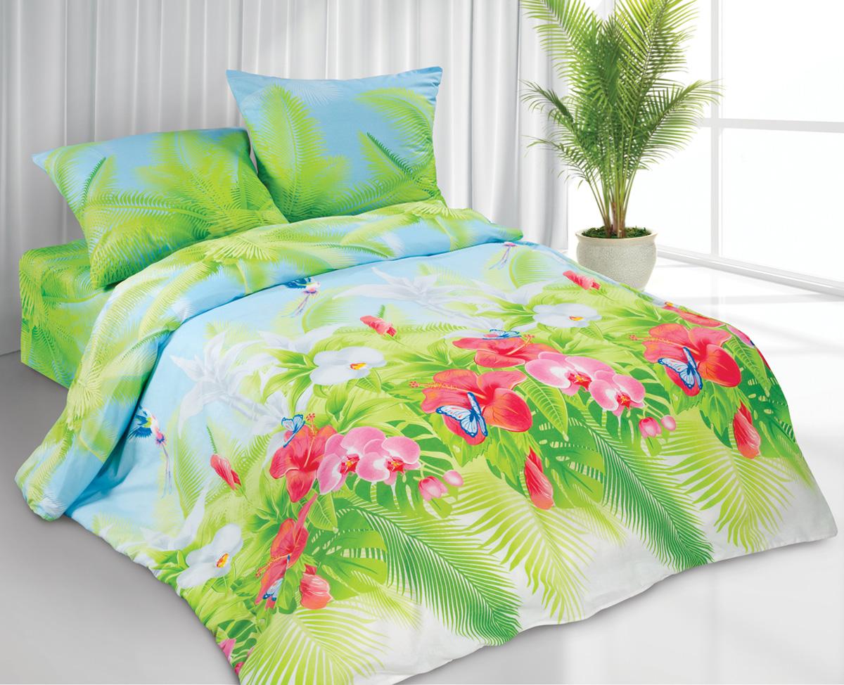 Комплект белья Любимый дом Ямайка, 1,5-спальный, наволочки 70x70, цвет: зеленый317217