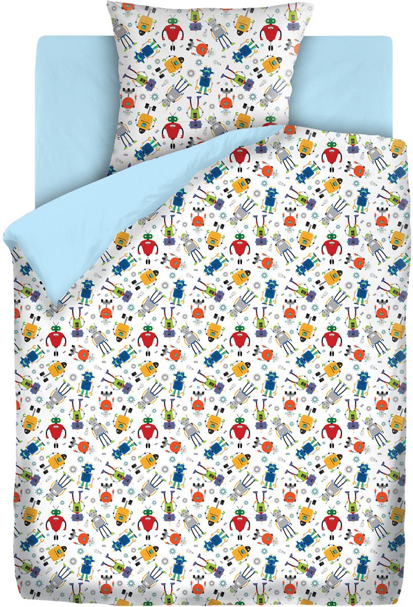 """Постельное белье в кроватку Непоседа """"Роботы"""" создано специально для вашего ребенка. Яркие  краски и хорошее качество - все это подарит вашему малышу крепкий здоровый сон. Изготовлено  из высококачественной бязи российского производства. Набор постельного белья состоит из трех  предметов: наволочка, пододеяльник и простыня."""