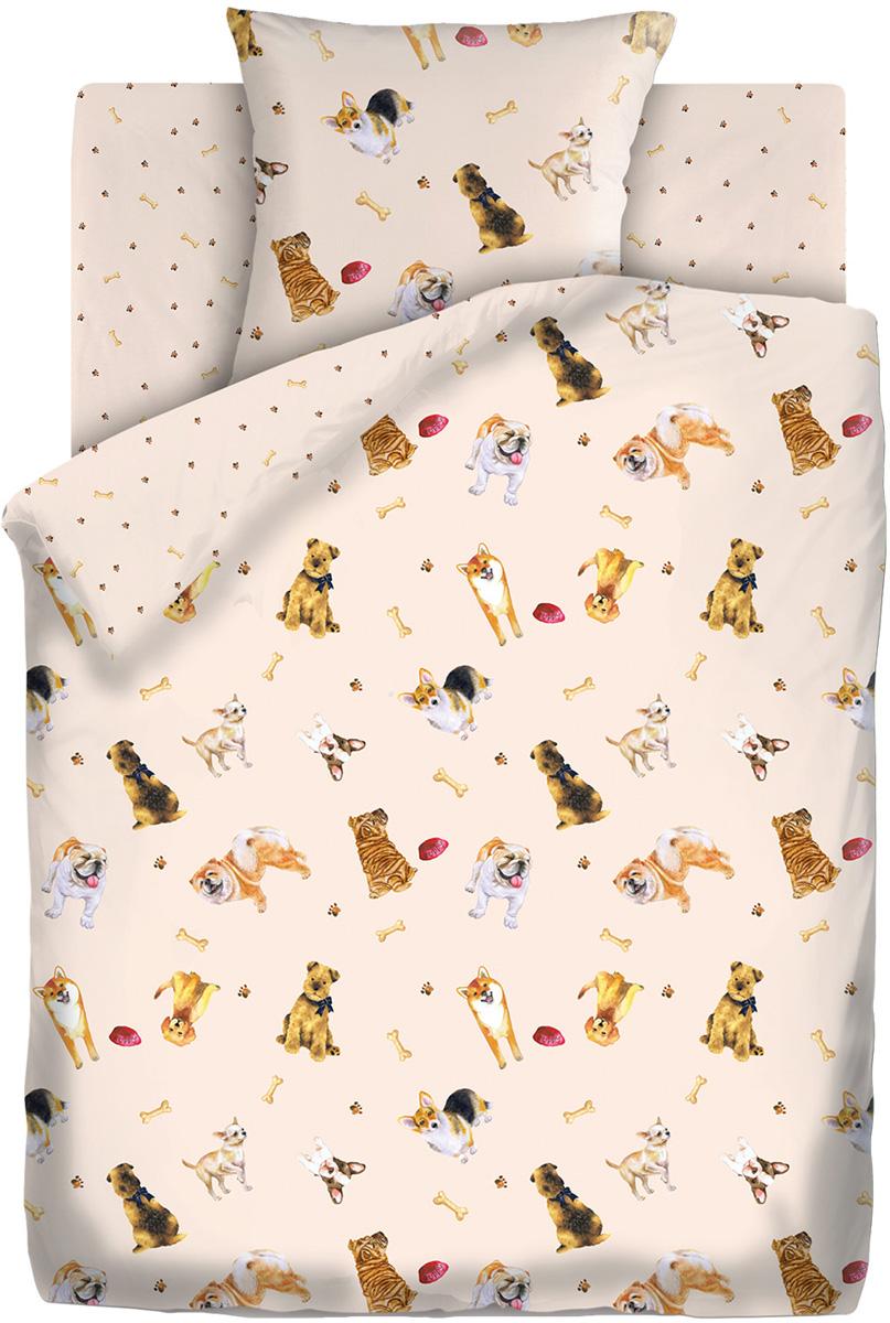 Комплект белья Непоседа Собачки, 1,5-спальный, наволочки 70x70, цвет: бежевый442196