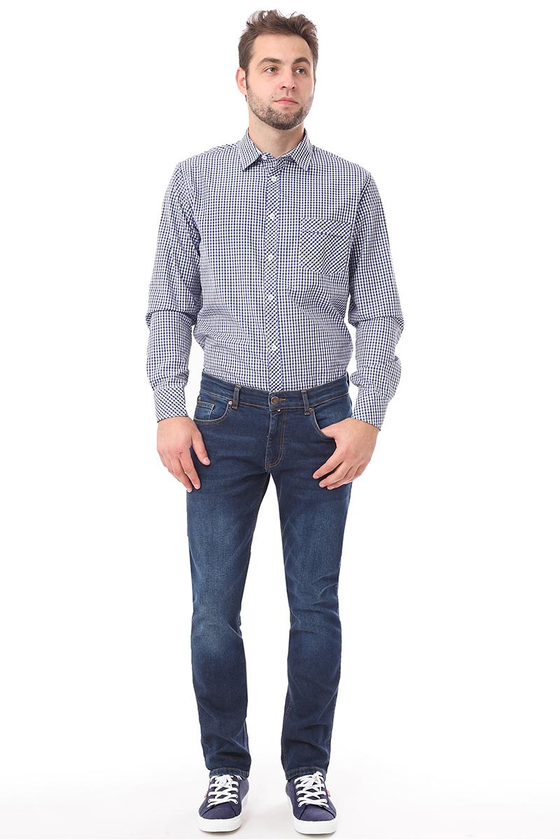 Рубашка мужская F5 Poplin, цвет: голубой. 276002. Размер M (48) мужская одежда aston случайные случайные сшитые мужские рубашки с длинными рукавами синяя сетка 170 m a14116303