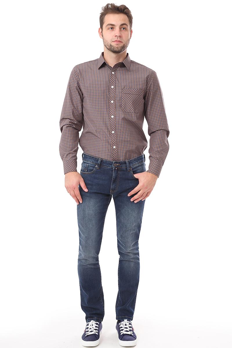 Рубашка мужская F5 Poplin, цвет: бордовый. 276006. Размер S (46)276006_Check 2Стильная мужская рубашка F5 выполнена из натурального хлопка с полиэстером. Модель с отложным воротником и длинными рукавами застегивается на пуговицы спереди и оснащена нагрудным карманом. Манжеты рукавов дополнены пуговицами.