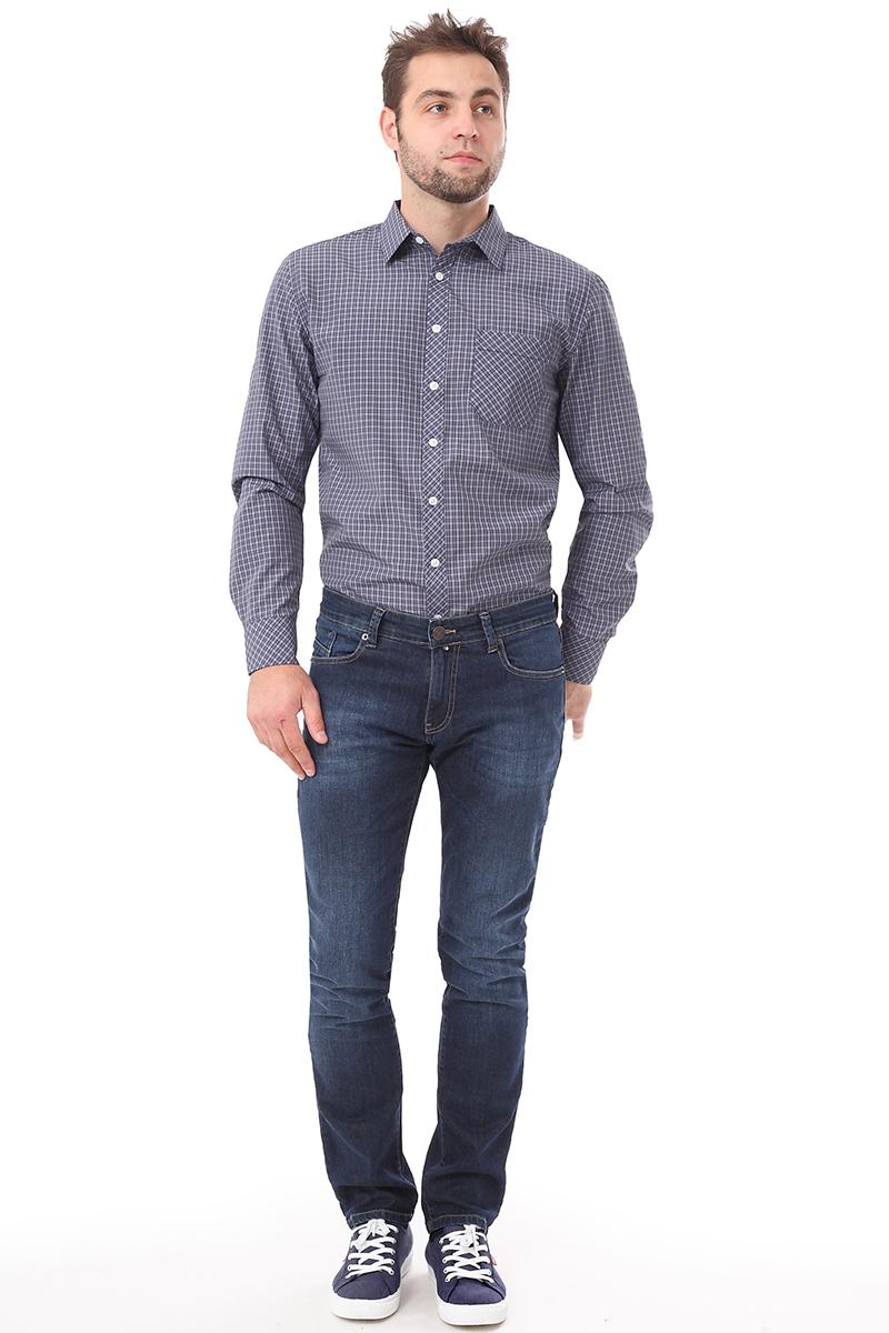 Рубашка мужская F5 Poplin, цвет: синий. 276007. Размер S (46)276007_Check 3Мужская рубашка F5, выполненная из хлопка и полиэстера, прекрасно подойдет для повседневной носки. Материал очень мягкий и приятный на ощупь, не сковывает движения и позволяет коже дышать. Рубашка прямого кроя с отложным воротником и длинными рукавами застегивается на пуговицы по всей длине. На груди модели предусмотрен накладной карман. Манжеты рукавов также застегиваются на пуговицы. Изделие оформлено принтом в клетку. Такая модель будет дарить вам комфорт в течение всего дня и станет модным и стильным дополнением к вашему гардеробу.