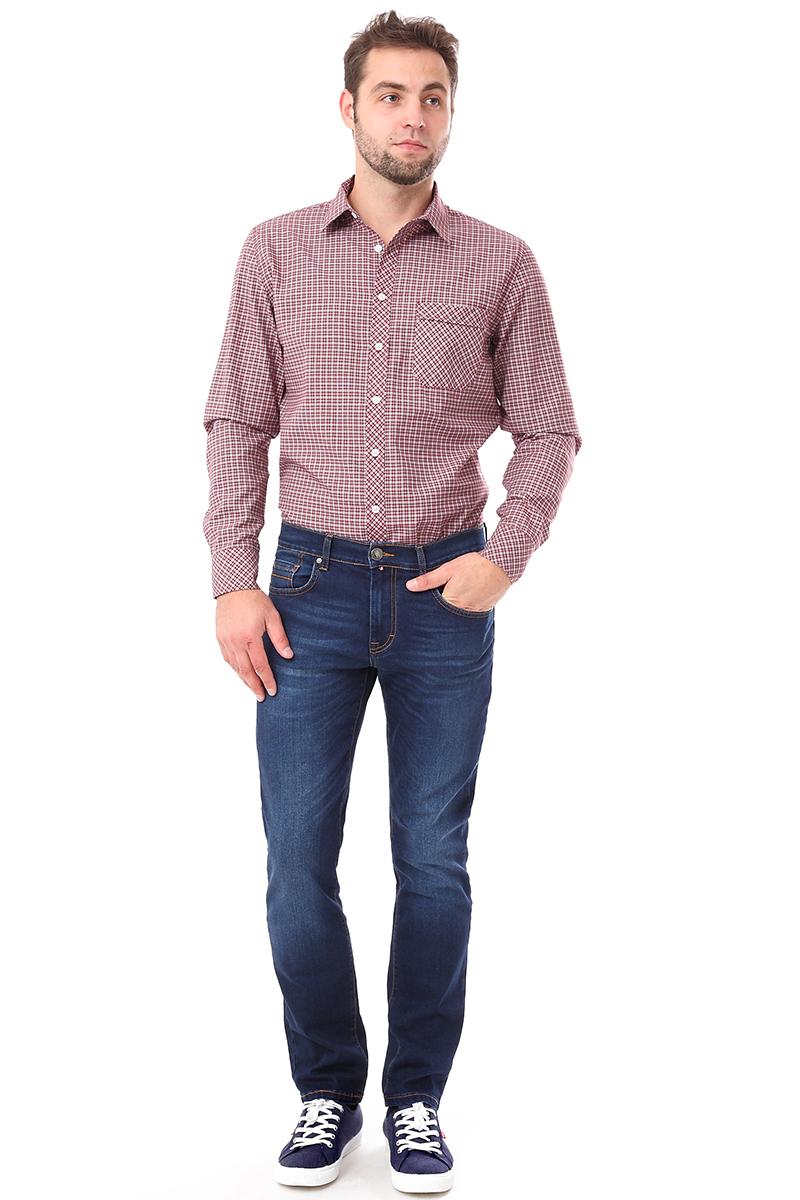 Рубашка мужская F5 Poplin, цвет: коричнево-красный. 276009. Размер S (46)276009_Check 5