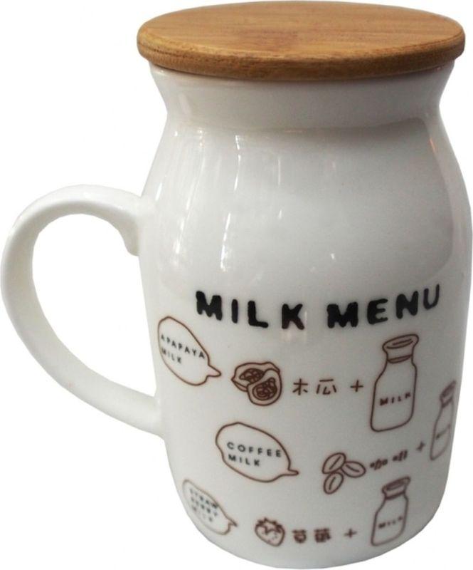 Кружка Карамба Корова 5, с крышкой, 190 мл3063Кружка с бамбуковой крышкой выполнена в виде бидона молока.
