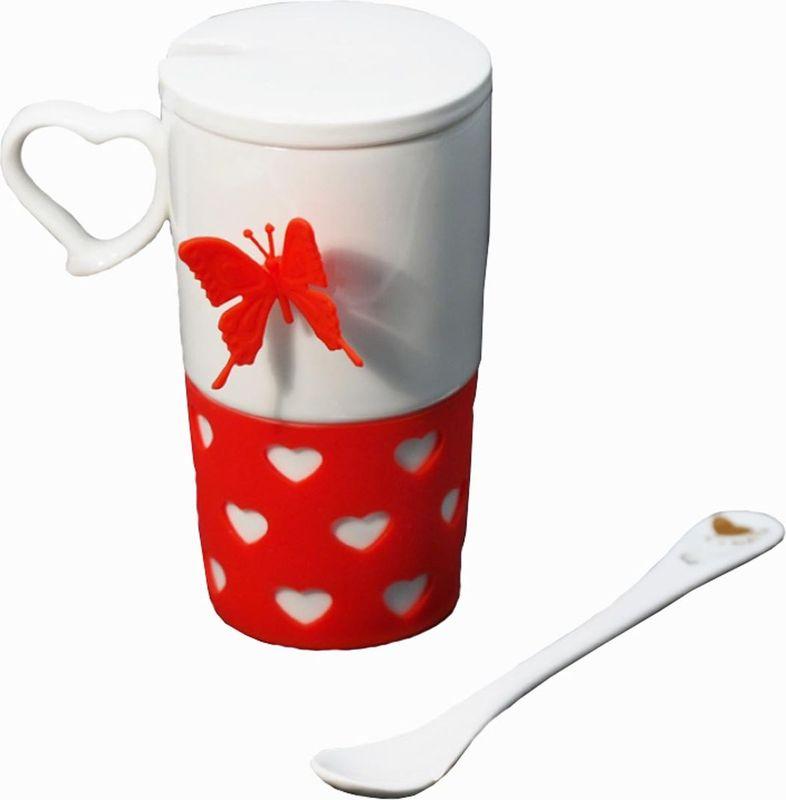 Кружка Карамба Бабочка, цвет: белый, красный, 260 мл11108-039DR804Кружку Карамба Бабочка можно использовать непосредственно по назначению, а также как декоративное украшение вашей кухни. Веселый дизайн не оставит никого равнодушным. Подстаканник, который можно снять со стакана, выполнен из мягкого силикона, который не будет скользить на мокрой поверхности. Также имеется съёмная керамическая крышка, которая не позволит горячей жидкости пролиться и керамическая ложка. Стакан декорирован силиконовой бабочкой на магните.