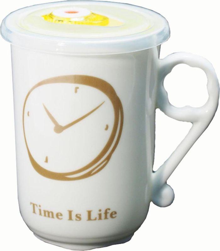 Кружка Карамба Часы, с крышкой, цвет: коричневый, желтый, 470 мл3734Оригинальная кружка Карамба Часы, выполненная из керамики, станет отличным подарком для человека, ценящего практичные вещи. Кружка оснащена удобной вакуумной крышкой. Превосходно сохранит температуру напитка.
