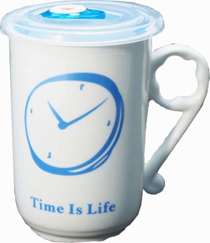 Кружка Карамба Часы, с крышкой, цвет: синий, 470 мл3735Оригинальная кружка Карамба Часы, выполненная из керамики, станет отличным подарком для человека, ценящего практичные вещи. Кружка оснащена удобной вакуумной крышкой. Превосходно сохранит температуру напитка.