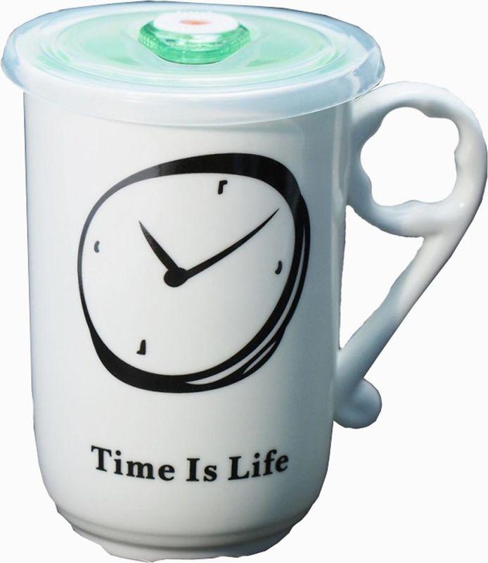 Кружка Карамба Часы, с крышкой, цвет: черный, зеленый, 470 мл3736Оригинальная кружка Карамба Часы, выполненная из керамики, станет отличным подарком для человека, ценящего практичные вещи. Кружка оснащена удобной вакуумной крышкой. Превосходно сохранит температуру напитка.