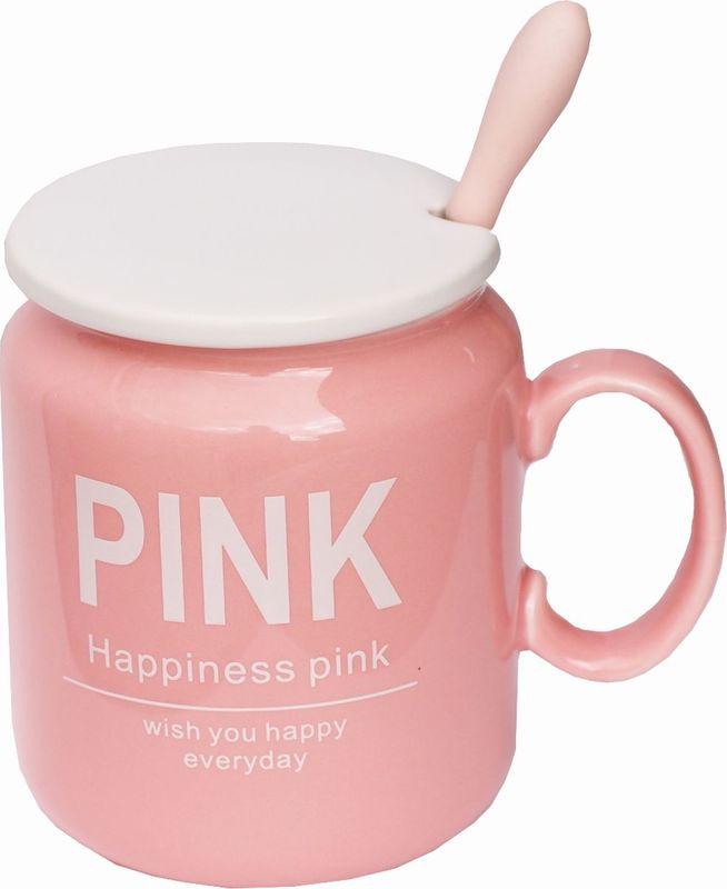 Кружка Карамба Pink, с крышкой, цвет: розовый, 320 мл3822Красивая кружка с крышкой и ложкой
