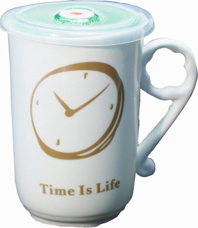 Кружка Карамба Часы, с крышкой, цвет: коричневый, зеленый, 470 мл3917Оригинальная кружка Карамба Часы, выполненная из керамики, станет отличным подарком для человека, ценящего практичные вещи. Кружка оснащена удобной вакуумной крышкой. Превосходно сохранит температуру напитка.