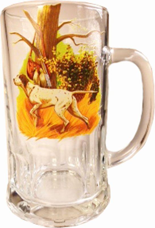 Кружка пивная Карамба Охота. Собака, 500 мл4830Большая пивная кружка изготовлена из стекла и оформлена рисунком. Она непременно понравится любителям пенного напитка, веселых посиделок и отвязных вечеринок. Пивная кружка превратит заурядную встречу в незабываемый вечер, а также станет оригинальным сувениром.
